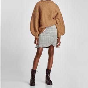 Zara Mini Skirt Plaid Check Ruffle Frill Medium